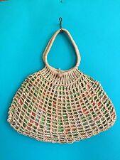 VTG 70s MINIMALIST WOVEN Straw Wicker Basket SOUVENIR Market BAG Handbag Purse