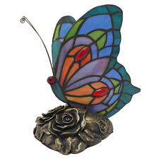 Tiffany Style Stained Glass Butterfly Accent Lamp Night Light Resin Base 2 Bulbs