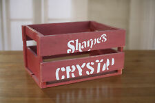 Storage Crate Red Vintage Style Timber Retro Home Decor Organisation 40cms