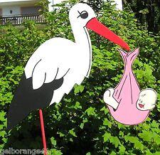 80 cm %STORCH holz mit Baby ROSA XL°Klapperstorch*GEBURT,GESCHENK*Baby*Hochzeit