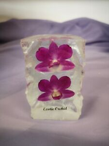 Forever Orchid , real flower encapsulated, acrylic resin,  Paperweigh