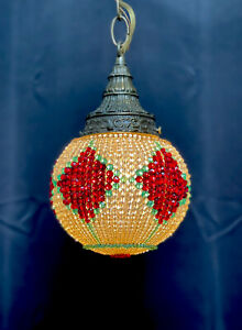 Antique Vintage Crystal Beaded Globe Sphere Shade Chandelier Victorian Pendant
