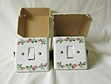 Ceramic Rose Design Light Switches x 2 by BAF Industries *Unused*