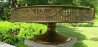 Handsome Antique Brass Reticulated Galleried Stand with Floral Swags Top Quality
