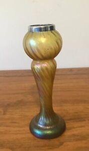 Loetz Glass Vase Gold Iridescent Art Nouveau Sterling Silver Rim Collar c1900's