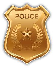 Police Badge Golden Car Bumper Sticker Decal 4'' x 5''