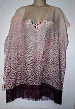 Victoria's Secret Beach Dress Cover Up Tunic Fringe Caftan Animal Prints Silk M