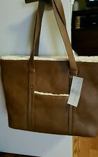 Minicci Handbag Tote Bag with Faux Fur trim Brown