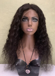 Lace Front Real 100% Human Hair Wig Pre Plucked Curly Natural Color 26 inches