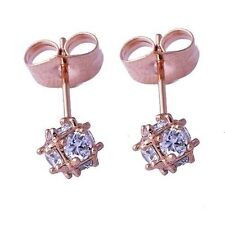 Cute New Petite Gold / Rose Gold Filled Clear CZ Cubic Ball Stud Earrings