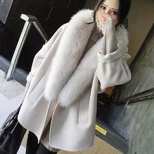Beige Women Coat Long Jacket Overcoat Winter Warm Outwear Maternity Fur Parka XL