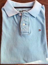 TOMMY HILFIGER Blue Solid Polo Shirt Boy Sz. L 16-18 Pique 100% Cotton