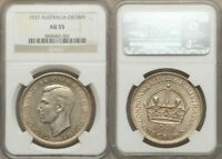 Great Australia Silver Coin 1937 Crown King George VI Bust Facing Left NGC AU55