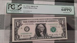 2006 $1 US Federal Reserve Note PCGS 64 PPQ F 00006518 I