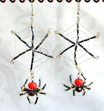 Beaded Spider & Net Earrings - Black & Red Spider