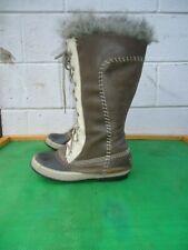 Sorel CATE THE GREAT Gray Leather Fur Trim  Waterproof  Snow Boot Women SZ# 8