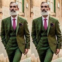 Men's Olive Green Vintage Suit Windowpane/Check Formal Groom Wedding Tuxedos