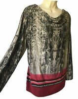 BIANCA Women's UK 14 M Blouse Stretch Top Snakeskin Work Party Autumn Tunic Chic