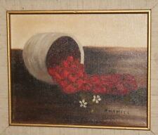 Still life with strawberries oil painting signed