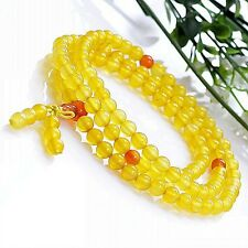 Joli Chapelet Mala Bouddhiste en 108 Perles de Jade semi-translucide