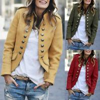 Womens Ladies Button Pockets Bomber Jacket Casual Coat Outwear Blazer Suit UK