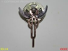 steampunk brooch badge pin silver wings gearwheel cog mechanical rhinestones