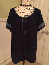 J.Crew L large navy blue tunic shirt popover top casual ROOMY