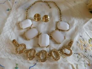 Banana Republic White/Gold Statement Necklace, Crystal Bracelet & Earrings