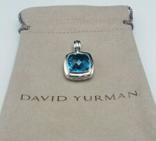 David Yurman 925 Silver Albion 14mm Blue Topaz Pendant