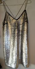 NEW LOOK PREMIUM Black & Silver Sequinned Two Toned  Dress *NEW* Size 14 UK