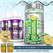 Garcinia Cambogia pura + 2 Acai Gold-más fuerte para adelgazar / Dieta + Detox Pastillas