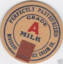MILK BOTTLE CAP. MISSOURI ICE CREAM CO. COLUMBIA, MO. DAIRY. REPRODUCTION