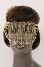 New Women Gold Metal Head Chain Links Eye Cover Half Face Mask Fashion Jewelry