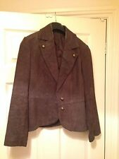 Brown leather/suede military style women's blazer/jacket/coat UK 10