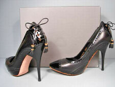 McQueen 38.5 Black Leather Patent Platform Oxford Lace Up Back Pumps Heels NEW