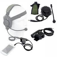 High-strength Nylon U94 3.5mm jack PTT Cable/Z Tactical HD03 Headset Kit Black