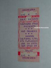 Pat Travers Unused 1978 Concert Ticket Miami Gusman Theatre Very Rare Criteria