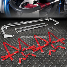 "CHROME 49""STAINLESS STEEL CHASSIS HARNESS BAR+RED 6-PT STRAP CAMLOCK SEAT BELT"