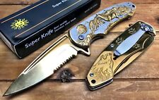 """8"""" Knife Spring Assisted Pocket Open Folding Tactical Alum Handle WOLF Gold"""