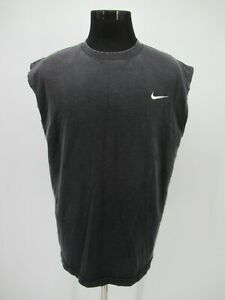 P5644 VTG Men's Nike Swoosh One Point Sleeveless T Shirt Made In USA Size L