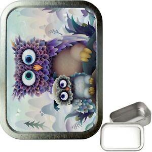 Cute Owl 2oz Silver Tobacco Tin, Airtight sealed Tobacco Tin, Craft Tin