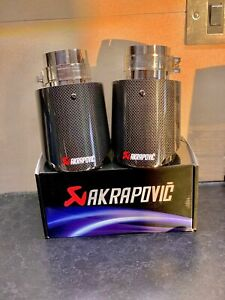 """Akrapovic silver style exhaust tips 2.5"""" genuine  carbon fibre stainless steel"""
