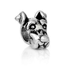 Antique Silver Dog Head  Spacer Charm Bead  For European Charm Bracelets