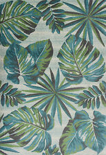 "5x8 (5'3"" x 7'7"") Tropical Coastal Palm Teal Blue Area Rug"