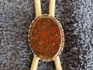 Vintage Western Bolo Tie lariat Oval  Cabochon Petrified Dinosaur bone Gembone