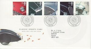 GB Stamps First Day Cover Classic Sports Cars, Jaguar etc  SHS Spoked wheel 1996
