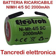 Batteria ricaricabile NiMh 4/5 SC 1,2V 2000mAh 22x33mm Ni-Mh a saldare linguette