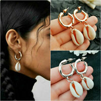 Women Fashion boho Puka Natural Shell Earrings ZA Statement Drop Dangle Earrings