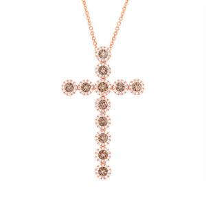 1.50 CT 14K Rose Gold Natural Cognac Champagne Diamond Cross Pendant Necklace