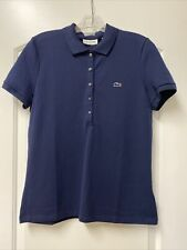 LACOSTE Slim Fit Stretch Mini Cotton Pique Polo Shirt Navy NWT $89.50 Size 42